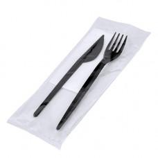 Набір одноразовий дорожній 3 предмети: виделка, ніж, серветка Чорний (027430)
