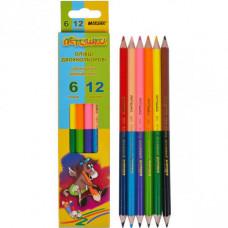 Олівці кольорові двосторонні Marco Пегашка 12 кольорів (1011-6CB)