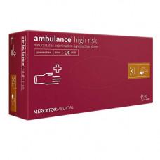 Рукавиці Ambulance High Risk латексні XL 50 шт. Сині (105350)