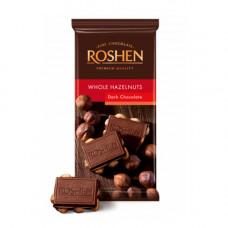 Шоколад екстрачорний Roshen з цілим лісовим горіхом 90 г (613203)