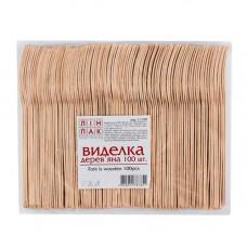 Виделка одноразова Linpac 100 шт. Деревяна (70273)