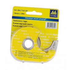 Клейка стрічка канцелярська Buromax в диспенсері 18 мм х 20 м 40 мкм Прозора (BM.7161-01)