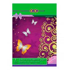 Набір кольорового паперу самоклеючого ZiBi Металік A5 7 аркушів 7 кольорів (ZB.1953)