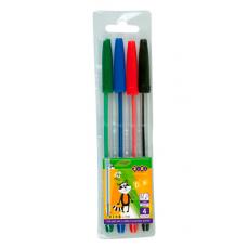 Набір кулькових ручок ZiBi 4 шт. Асорті (ZB.2010)