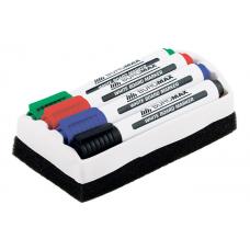 Набір маркерів Buromax  для сухостиральних дошок 2-4 мм 4 шт. + Губка (BM.8800-84)