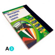Обкладинка картонна D&A А3 250 г/м2 100 шт Чорна під шкіру (1220101029300)
