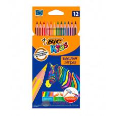 Олівці кольорові BIC Evolution Stripers 12 кольорів (bc9505221)