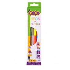 Олівці кольорові ZiBi Neon+Metallic двосторонні 6 шт. 12 кольорів (ZB.2465)