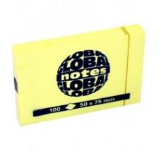 Папір для нотаток Global Notes з клейким шаром 50х75 мм 100 аркушів Жовтий (65606)