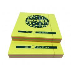Папір для нотаток Global Notes з клейким шаром 75х75 мм 100 аркушів Неон асорті (68.121)