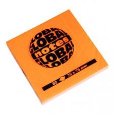 Папір для нотаток Global Notes з клейким шаром 75х75 мм 80 аркушів Помаранчевий (68.127)