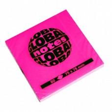 Папір для нотаток Global Notes з клейким шаром 75х75 мм 80 аркушів Рожевий (68.124)