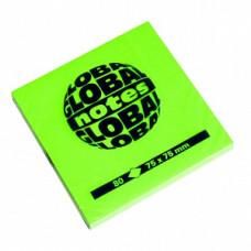 Папір для нотаток Global Notes з клейким шаром 75х75 мм 80 аркушів Зелений (68.125)