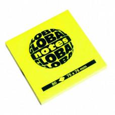 Папір для нотаток Global Notes з клейким шаром 75х75 мм 80 аркушів Жовтий (68.126)