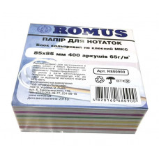 Папір для нотаток Romus Непроклеєний 85х85 мм 400 аркушів Мікс (R880900)
