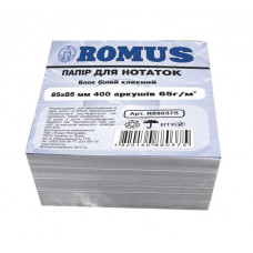 Папір для нотаток Romus Проклеєний 85х85 мм 400 аркушів Білий (R880375)