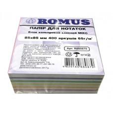 Папір для нотаток Romus Проклеєний 85х85 мм 400 аркушів Мікс (R880870)