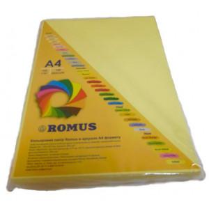 Папір кольоровий Romus A4 160 г/м2 100 аркушів Жовтий (R50584)