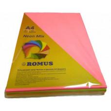 Папір кольоровий Romus A4 80 г/м2 200 аркушів 4 кольора Mix Neon (R50935)