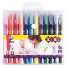 Пастель масляна шовкова ZiBi Jumbo Baby з акварельним ефектом 12 кольорів (ZB.2497)
