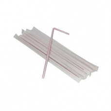 Соломка пряма в індивідуальній упаковці гофрована  210 мм 200 шт. Асорті (060016)