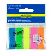 Закладки пластикові Buromax 12x45 мм 125 шт Неонові (BM.2302-98)