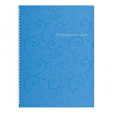 Зошит Buromax Barocco A4 80 аркушів пластикова обкладинка у клітинку Блакитний (BM.2446-614)